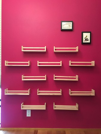 New Beanie Boo Wall of Fame shelving for Amelia's collection. Spice racks from Ikea!