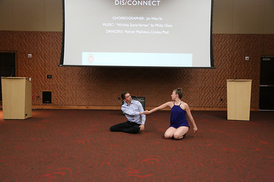 "Student dancers Palmer Mathews and Conley Pitzl perform ""Dis/Connect,"" choreographed by Jin-Wen Yu opened the event!"
