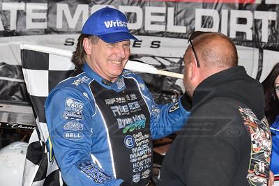 Atomic Speedway promoter Brad McCown (R) congratulating Scott Bloomquist (L)