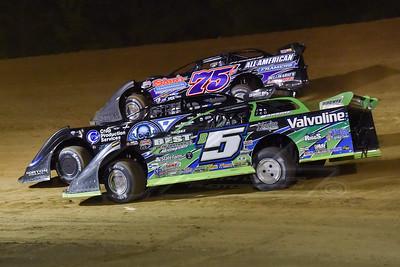Brandon Sheppard (B5). Scott Bloomquist (0) and Colton Flinner (75)