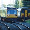 Arriva Trains Wales Class 142 Pacer no. 142081 passing GWR Class 150 Sprinter no. 150202 at Cheltenham Spa.