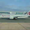 Qatar Airways Boeing 787 Dreamliner A7-BCO at Birmingham Airport with a Doha flight.