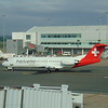 Helvetic Airways Fokker 100 HB-JVF at Birmingham Airport on a Swiss flight to Zurich.
