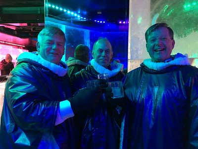 Michael McCrory, Ed O'Brien, and Gill High at the Ice Bar