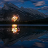 Canada Day (July 1st) fireworks, in front of Mt. Rundle, from 2nd Vermillion Lake