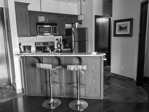 We found a great deal to stay just outside of the town of Banff, in Canmore, at the Great Rockies Resort.   This was our kitchen