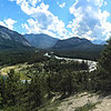 "Panorama of the view from the hoodoo's trail. Here you can see Mt. Rundle, the Bow river, and a number of other peaks. You might even be able to see the famous ""Banff Springs Hotel"" .. aka The Fairmont."