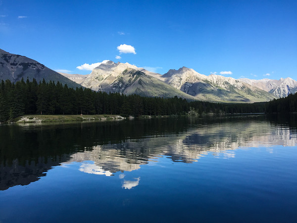 We wanted a relaxing first day in Banff, so I took Sammi to Johnson Lake. We took a quick walk around part of the lake, and then drove into Banff for dinner.