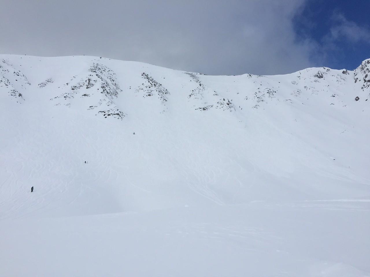 Fresh tracks and sweet powder. Pretty steep too. We just hit that!