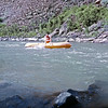 0324 Lester crossing Brunau River on one abandon raft to get the other - same spot summer 1969
