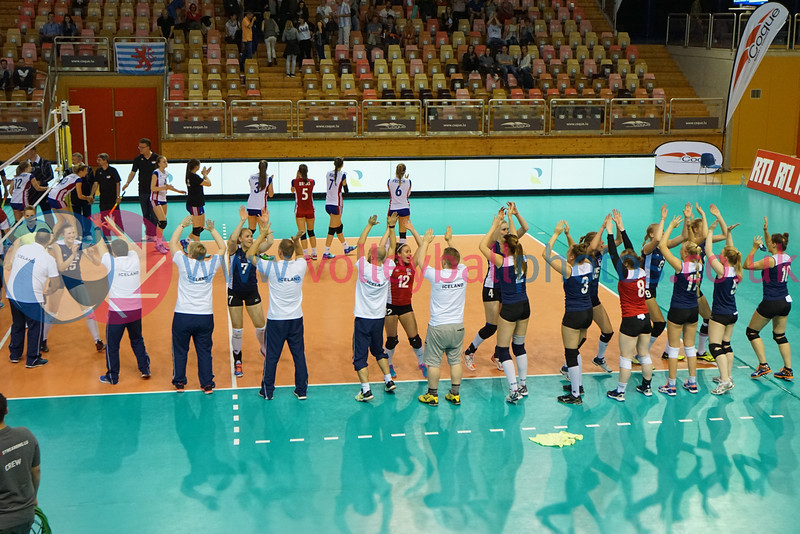 Iceland 3 v 1 Luxembourg (21-25, 25-19, 25-17, 25-17), Women's 2017 CEV Volleyball European Championship (Small Countries Division), d'Coque, Luxembourg, Sat 25 Jun 2016.  © Michael McConville   http://www.volleyballphotos.co.uk/2016/CEVFIVB/20160624-scd-championships/20160625-ISL-LUX