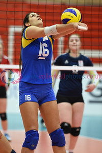 CYP 3 v 0 FAR (25-22, 25-15, 25-15), CEV 2016 European Championships - U19 Women's Finals, University of Edinburgh, Centre for Sport and Exercise, 3 April 2016.  © Lynne Marshall  http://www.volleyballphotos.co.uk/2016/CEVFIVB/SCD-U19W/CYP-FAR/