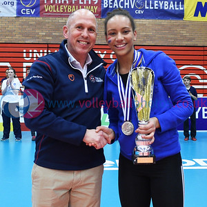 Closing Ceremony, CEV 2016 European Championships - U19 Women's Finals, University of Edinburgh, Centre for Sport and Exercise, 3 April 2016.  © Lynne Marshall  http://www.volleyballphotos.co.uk/2016/CEVFIVB/SCD-U19W/Ceremony/