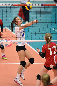 FAR 2 v 3 LUX (8-25, 25-23, 25-23, 22-25, 9-15), CEV 2016 European Championships - U19 Women's Finals, University of Edinburgh, Centre for Sport and Exercise, 1 April 2016.  © Lynne Marshall  http://www.volleyballphotos.co.uk/2016/CEVFIVB/SCD-U19W/FAR-LUX