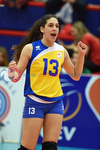 LUX 0 v 3 CYP (14-25, 14-25, 11-25), CEV 2016 European Championships - U19 Women's Finals, University of Edinburgh, Centre for Sport and Exercise, 2 April 2016.  © Lynne Marshall   http://www.volleyballphotos.co.uk/2016/CEVFIVB/SCD-U19W/LUX-CYP
