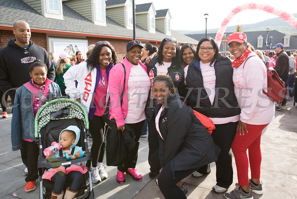The women of Delta Sigma Theta Sorority Inc joined thousands of people, including cancer survivors, their families and businesses, in the annual American Cancer Society Making Strides Against Breast Cancer walk at Woodbury Common Premium Outlets in Central Valley, NY on Sunday, October 16, 2016. Hudson Valley Press/CHUCK STEWART, JR.
