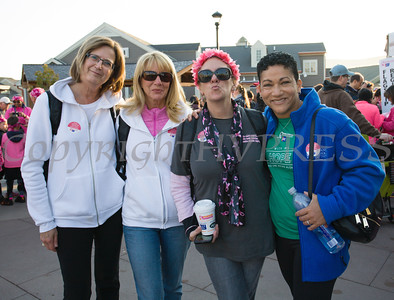 Diane Stytko, Carol Mills, Deb Szulewski and Sandra Iberger of Orange Regional Medical Center joined with thousands of people, including cancer survivors, their families and businesses, in the annual American Cancer Society Making Strides Against Breast Cancer walk at Woodbury Common Premium Outlets in Central Valley, NY on Sunday, October 16, 2016. Hudson Valley Press/CHUCK STEWART, JR.