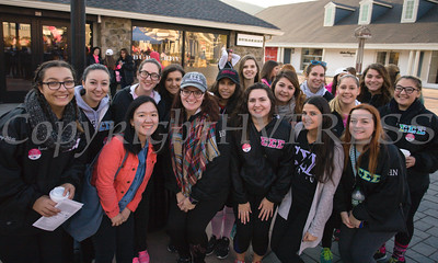 The women of Sigma Sigma Sigma joined thousands of people, including cancer survivors, their families and businesses, in the annual American Cancer Society Making Strides Against Breast Cancer walk at Woodbury Common Premium Outlets in Central Valley, NY on Sunday, October 16, 2016. Hudson Valley Press/CHUCK STEWART, JR.