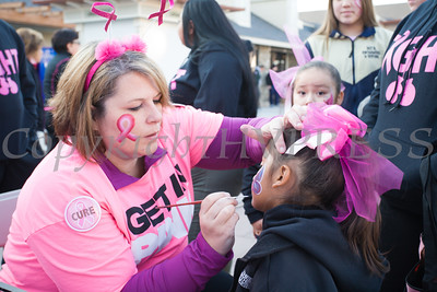 Daniella has her face painted by Tyra Thompson as thousands of people, including cancer survivors, their families and businesses, participated in the annual American Cancer Society Making Strides Against Breast Cancer walk at Woodbury Common Premium Outlets in Central Valley, NY on Sunday, October 16, 2016. Hudson Valley Press/CHUCK STEWART, JR.