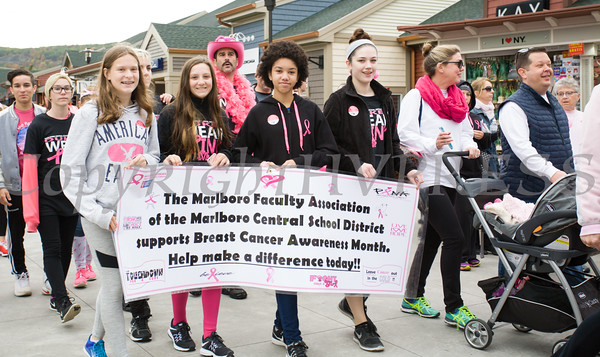 Marlboro School joined thousands of people, including cancer survivors, their families and businesses, in the annual American Cancer Society Making Strides Against Breast Cancer walk at Woodbury Common Premium Outlets in Central Valley, NY on Sunday, October 16, 2016. Hudson Valley Press/CHUCK STEWART, JR.