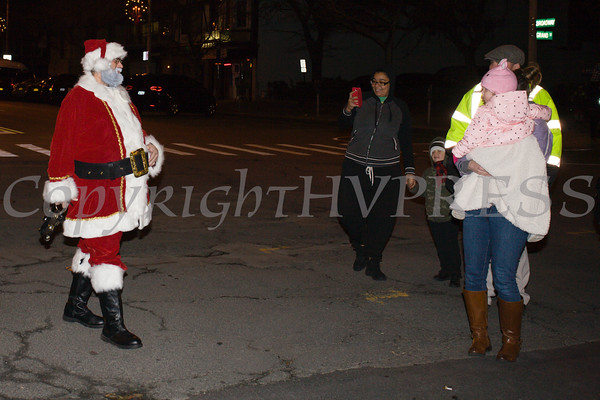 Santa Claus arrives as the City of Newburgh welcomed its Broadway tree during its official dedication and tree lighting ceremony on Wednesday, December 14, 2016. Hudson Valley Press/CHUCK STEWART, JR.