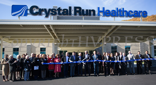 Among those pictured are Senator Bonaci; Orange County Chamber of Commerce President Lynn Cione; Village of Monroe Mayor James Purcell; Orange County Executive Steve Neuhaus; Crystal Run CEO Hal Teitelbaum; Congressman Sean Patrick Maloney; and Assemblyman Karl Brabenec for Crystal Run Healthcare's grand opening and ribbon cutting at their new facility in the Village of Monroe on November 1, 2016. Hudson Valley Press/CHUCK STEWART, JR.