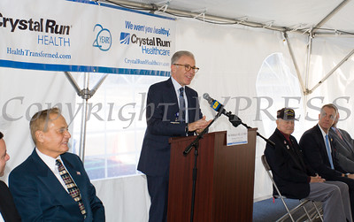 Dr. Hal Teitelbaum, Managing Partner and Chief Executive Officer of Crystal Run Healthcare offers remarks as Crystal Run Healthcare celebrated the grand opening of, and cut the ribbon at, their new facility in the Village of Monroe on November 1, 2016. Hudson Valley Press/CHUCK STEWART, JR.