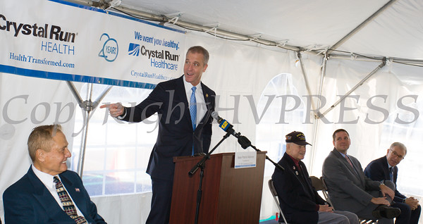 US Rep. Sean Patrick Maloney offers remarks as Crystal Run Healthcare celebrated the grand opening of, and cut the ribbon at, their new facility in the Village of Monroe on November 1, 2016. Hudson Valley Press/CHUCK STEWART, JR.