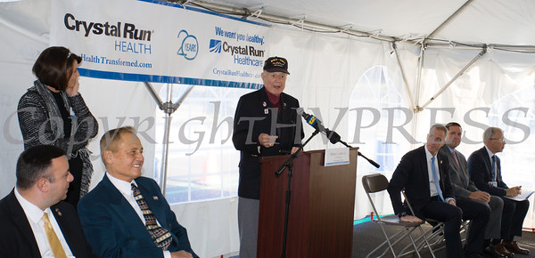 NYS Senator William Larkin offers remarks as Crystal Run Healthcare celebrated the grand opening of, and cut the ribbon at, their new facility in the Village of Monroe on November 1, 2016. Hudson Valley Press/CHUCK STEWART, JR.