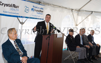 NYS Assemblyman Karl Brabenec offers remarks as Crystal Run Healthcare celebrated the grand opening of, and cut the ribbon at, their new facility in the Village of Monroe on November 1, 2016. Hudson Valley Press/CHUCK STEWART, JR.