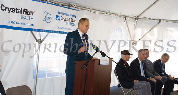 NYS Senator John Bonacic offers remarks as Crystal Run Healthcare celebrated the grand opening of, and cut the ribbon at, their new facility in the Village of Monroe on November 1, 2016. Hudson Valley Press/CHUCK STEWART, JR.