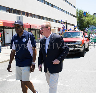 Poughkeepsie City School District Board of Education member Randall Johnson and City of Poughkeepsie Mayor Robert Rolison participated in the annual Father's Day Parade held in Poughkeepsie on Saturday, June 18, 2016. Hudson Valley Press/CHUCK STEWART, JR.