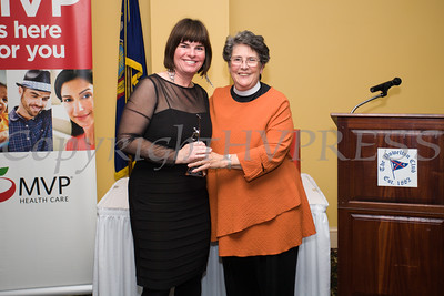 Lisa Silverston, Executive Director Safe Harbors of the Hudson receives her award from Mother Deborah Dresser during the Newburgh Girl Power Program at St. George's Episcopal Church third annual Leadership Awards Dinner on Friday, November 11, 2016 at the Powelton Club in Newburgh, NY. Photo Credit: CHUCK STEWART, JR.