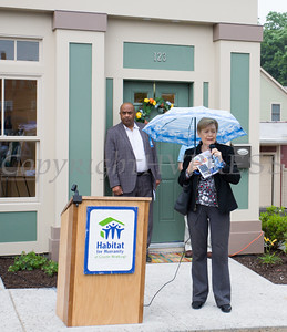 City of Newburgh Mayor Judy Kennedy offers remarks during Habitat for Humanity of Greater Newburgh's 5th Builders Blitz in the City of Newburgh on Saturday, June 11, 2016. Hudson Valley Press/CHUCK STEWART, JR.