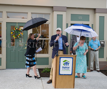Bill Braine of MasterCard offers remarks during Habitat for Humanity of Greater Newburgh's 5th Builders Blitz in the City of Newburgh on Saturday, June 11, 2016. Hudson Valley Press/CHUCK STEWART, JR.
