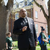 Rev. Milton Stubbs offers a prayer prior to Habitat for Humanity of Greater Newburgh's 17th Annual Walk for Housing in the City of Newburgh on Sunday, April 17, 2016. Hudson Valley Press/CHUCK STEWART, JR.