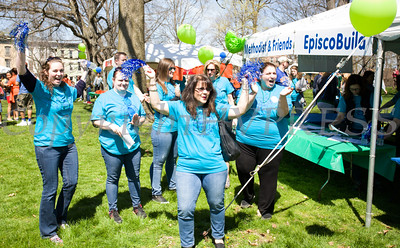 Volunteers cheer on walkers during Habitat for Humanity of Greater Newburgh's 17th Annual Walk for Housing in the City of Newburgh on Sunday, April 17, 2016. Hudson Valley Press/CHUCK STEWART, JR.