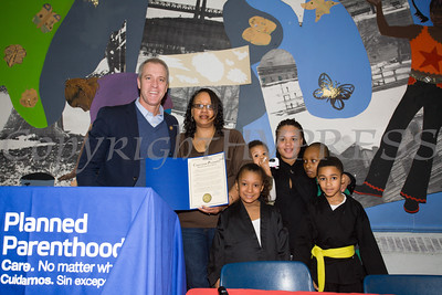 US Rep. Sean Patrick Maloney (NY-18) presents Yvonne Flowers with a Congressional Proclamation as the Poughkeepsie Healthy Black and Latino Coalition celebrated Black History Month with a Healthy Living Expo at the Family Partnership Center in Poughkeepsie, NY on Saturday, February 27, 2016. Hudson Valley Press/CHUCK STEWART, JR.