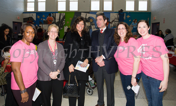 Lana Williams-Scott, Fran Fox-Pizzonia, NYS Senator Sue Serino, Dr. Joshua Jaffe Annette Marzan and Jessie Kowalczik pose for a picture as the Poughkeepsie Healthy Black and Latino Coalition celebrated Black History Month with a Healthy Living Expo at the Family Partnership Center in Poughkeepsie, NY on Saturday, February 27, 2016. Hudson Valley Press/CHUCK STEWART, JR.