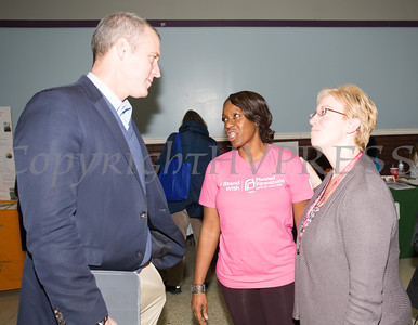 US Rep Sean Patrick Maloney (NY-18), Lana Williams-Scott and Fran Fox-Pizonia talk as the Poughkeepsie Healthy Black and Latino Coalition celebrated Black History Month with a Healthy Living Expo at the Family Partnership Center in Poughkeepsie, NY on Saturday, February 27, 2016. Hudson Valley Press/CHUCK STEWART, JR.