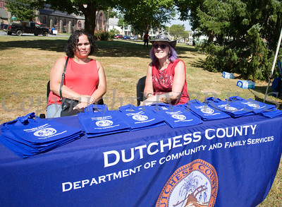 Lissette Mason and Jacky Cooper represent Dutchess County Department of Community and Family Services at the Poughkeepsie Healthy Black and Latino Coalition celebration of Hispanic Heritage Month at the Hispanic Heritage Festival on Saturday, September 17, 2016 at Mansion Square Park in Poughkeepsie, NY. Hudson Valley Press/CHUCK STEWART, JR.