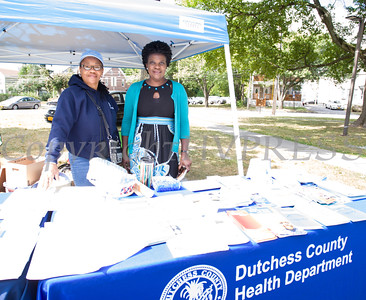 Anid McCalmont and Joyce Maranga represent the Dutchess County Health Department at the Poughkeepsie Healthy Black and Latino Coalition celebration of Hispanic Heritage Month at the Hispanic Heritage Festival on Saturday, September 17, 2016 at Mansion Square Park in Poughkeepsie, NY. Hudson Valley Press/CHUCK STEWART, JR.