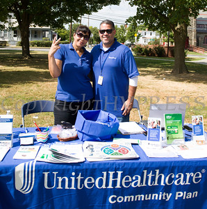 Lina Ducasse-Richardson and Pablo Arroyo represent United Healthcare at the Poughkeepsie Healthy Black and Latino Coalition celebration of Hispanic Heritage Month at the Hispanic Heritage Festival on Saturday, September 17, 2016 at Mansion Square Park in Poughkeepsie, NY. Hudson Valley Press/CHUCK STEWART, JR.