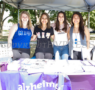 Grace Hoar, Mona Mahroui, christina Cardona and Stella Liao represent the Alzheimers Association at the Poughkeepsie Healthy Black and Latino Coalition celebration of Hispanic Heritage Month at the Hispanic Heritage Festival on Saturday, September 17, 2016 at Mansion Square Park in Poughkeepsie, NY. Hudson Valley Press/CHUCK STEWART, JR.