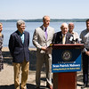 NYS Senator William Larkin joins local elected officials who called on the US Coast Guard to hold additional public hearings and conduct an environmental impact study before expanding mooring infrastructure on the Hudson River during a press conference at Plumb Point in New Windsor on Thursday, August 18. Hudson Valley Press/CHUCK STEWART, JR.