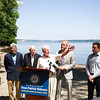 Elected officials called on the US Coast Guard to hold additional public hearings and conduct an environmental impact study before expanding mooring infrastructure on the Hudson River during a press conference at Plumb Point in New Windsor on Thursday, August 18. Hudson Valley Press/CHUCK STEWART, JR.