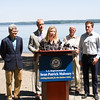 Audrey Friedrichsen, Land Use and Environmental Advocacy Attorney at Scenic Hudson, offers remarks as local elected officials called on the US Coast Guard to hold additional public hearings and conduct an environmental impact study before expanding mooring infrastructure on the Hudson River during a press conference at Plumb Point in New Windsor on Thursday, August 18. Hudson Valley Press/CHUCK STEWART, JR.