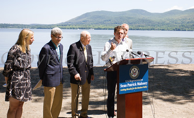 NYS Assemblyman James Skoufis joins elected officials who called on the US Coast Guard to hold additional public hearings and conduct an environmental impact study before expanding mooring infrastructure on the Hudson River during a press conference at Plumb Point in New Windsor on Thursday, August 18. Hudson Valley Press/CHUCK STEWART, JR.