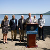 US Rep Sean Patrick Maloney (NY-18) is joined by local elected officials who called on the US Coast Guard to hold additional public hearings and conduct an environmental impact study before expanding mooring infrastructure on the Hudson River during a press conference at Plumb Point in New Windsor on Thursday, August 18. Hudson Valley Press/CHUCK STEWART, JR.