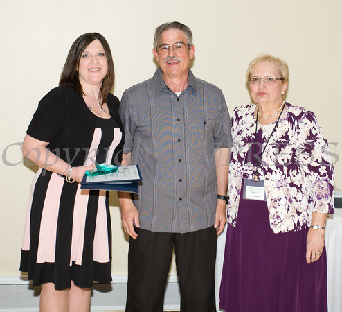 Anita Manley, right, presented TEAM Newburgh award honorees Dawn Wilkin and Martin Colavito during the 21st Annual Orange County Human Rights Commission Awards Dinner held on Thursday, April 21st at The Fountains of Wallkill. Hudson Press/CHUCK STEWART, JR.